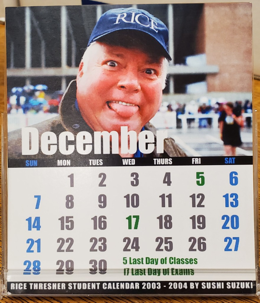 Calendar of December with image of Malcolm Gillis