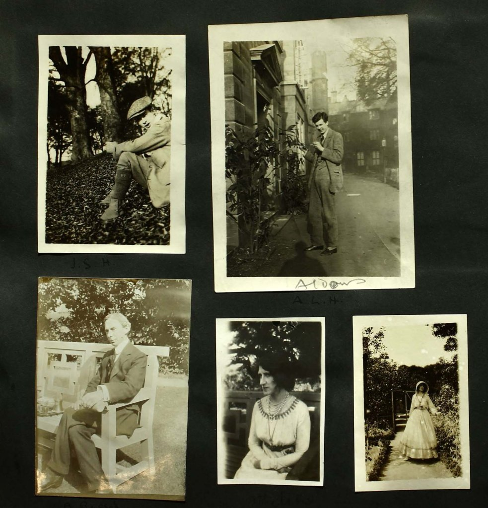 5 photographs pasted into a scrapbook