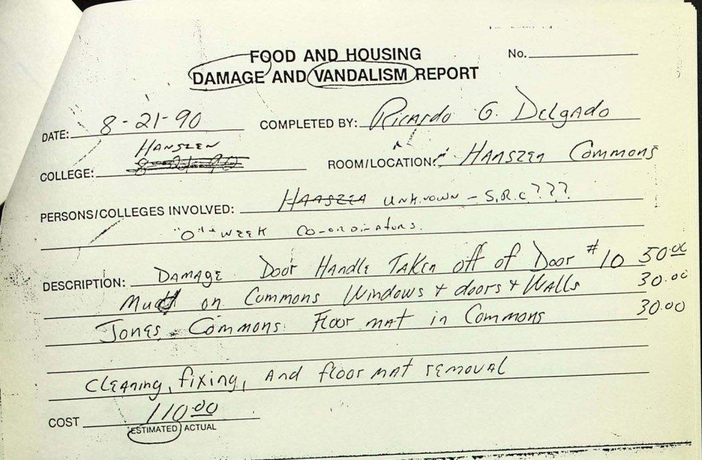 Damage and Vandalism Report