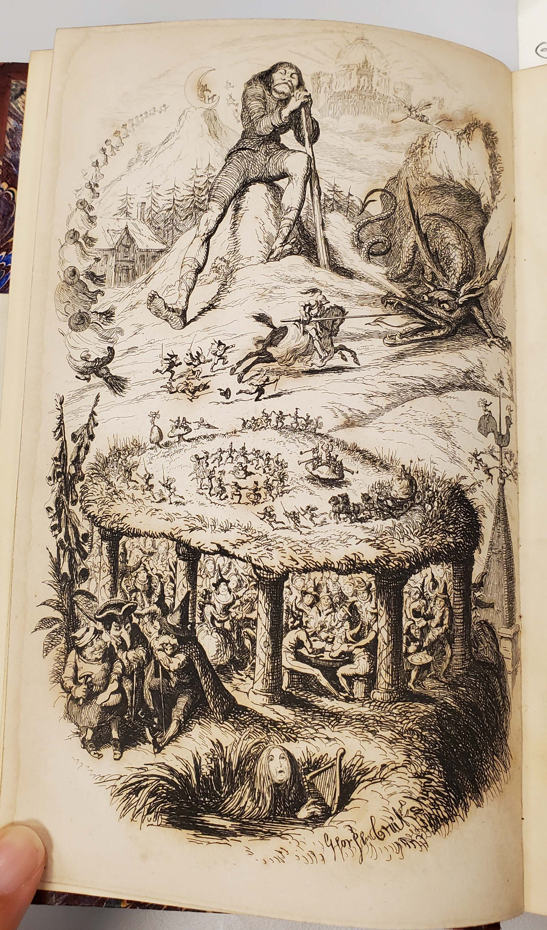 Etching by George Cruikshank showing a man with fairies underfoot.