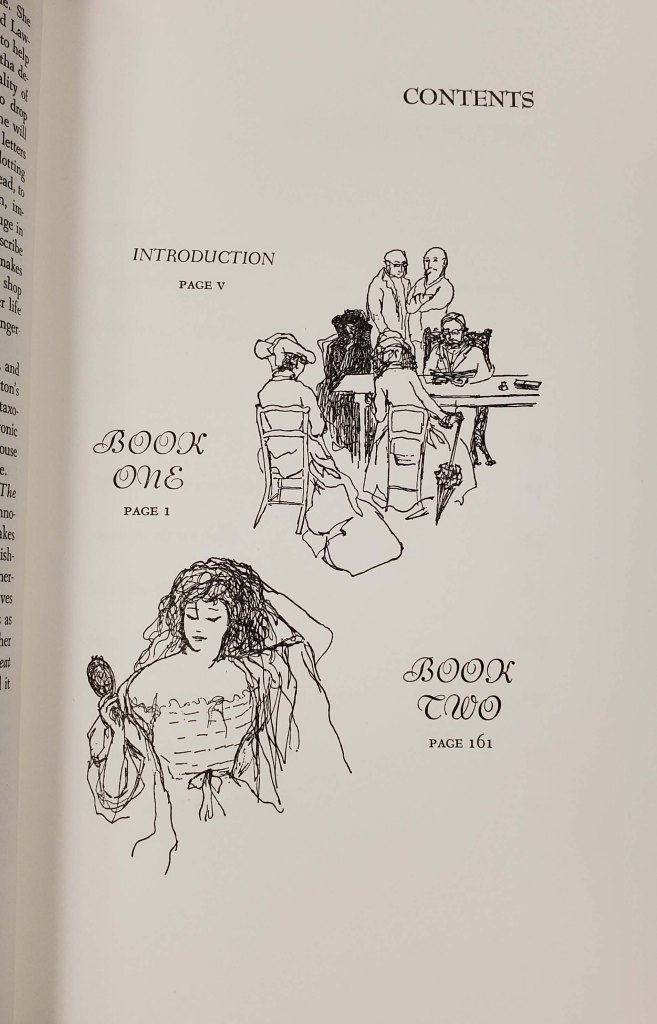 Black and white illustrations on the contents page.