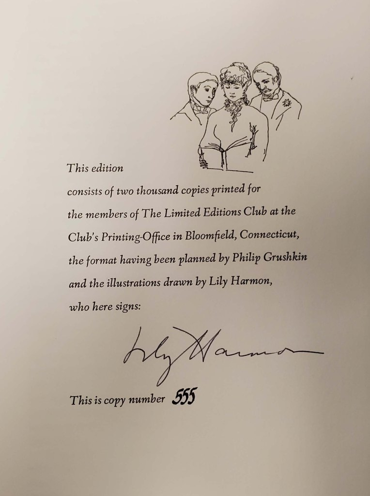 Page listing the edition information and signed by Lily Harmon.