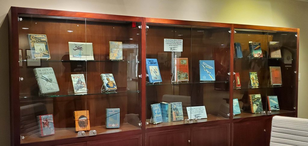 Image of Anderson book covers in an exhibit case