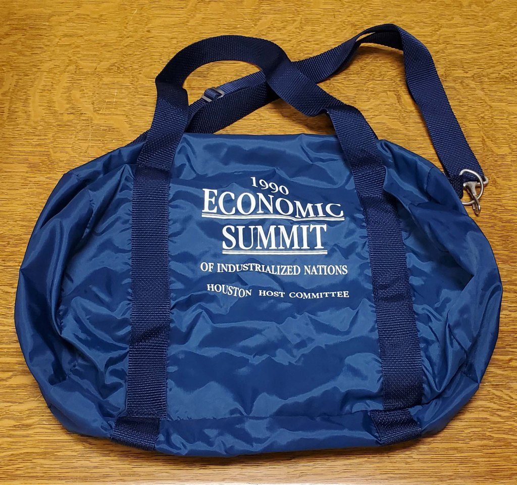 Bag from the 1990 Economic Summit of Industrialized Nations event.