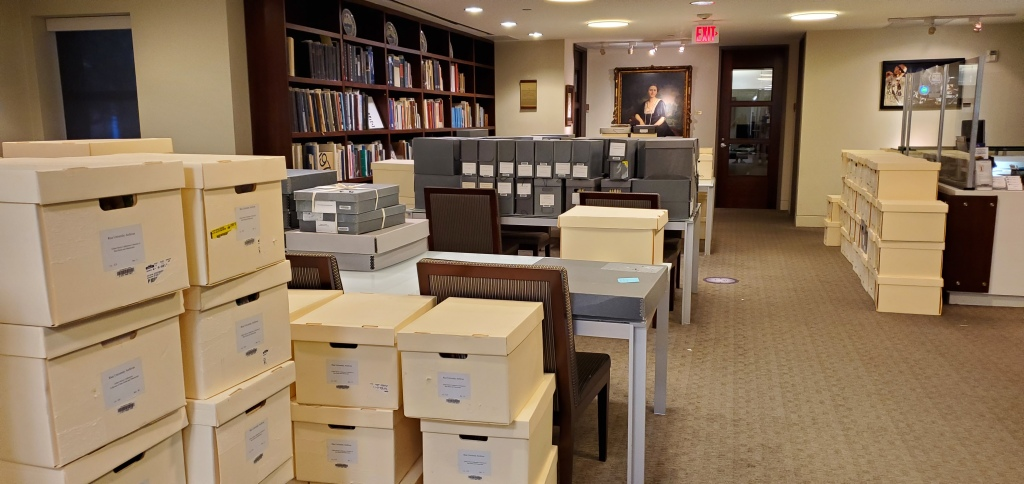 Image of boxes in the reading room